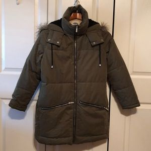 Old Navy Puffer Army Green long line Coat